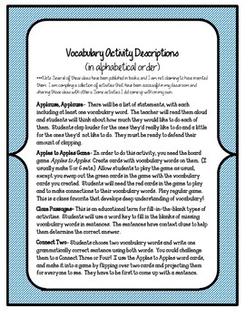 Reading Street 5th Grade Unit 3 Complete Set of Vocabulary Activities and Games