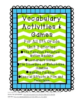 Reading Street 5th Grade Unit 3 Vocabulary Activities and Games BUNDLE