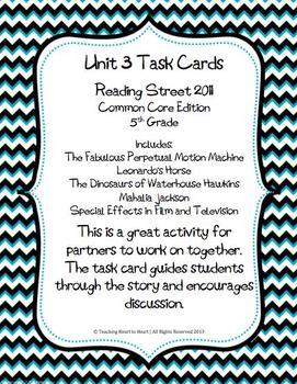 5th Grade Reading Street Unit 3 Task Cards (Common Core Ed