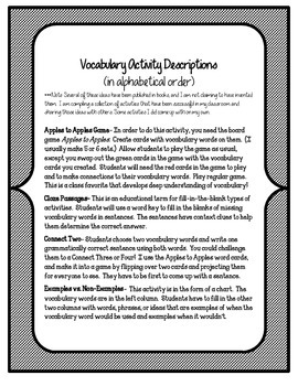 Reading Street 5th Grade Unit 5 Complete Set of Vocabulary Activities and Games