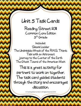 5th Grade Reading Street Unit 5 Task Cards (Common Core Edition 2011)