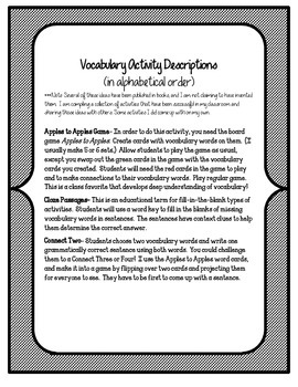 Reading Street 5th Grade Unit 6 Complete Set of Vocabulary Activities and Games