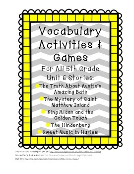 Reading Street 5th Grade Unit 6 Vocabulary Activities and Games BUNDLE