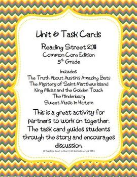 5th Grade Reading Street Unit 6 Task Cards (Common Core Ed