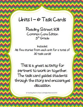 5th Grade Reading Street Units 1-6 Task Cards (Common Core Edition 2011)