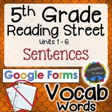 5th Grade Reading Street | Vocabulary Sentences | Google Forms Distance Learning
