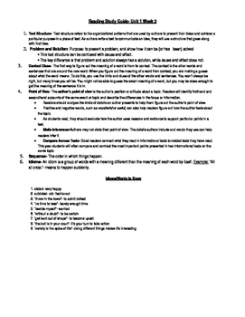 5th Grade Reading Study Guide Unit 1 Week 2