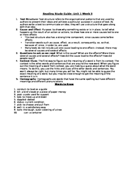 5th Grade Reading Study Guide Unit 1 Week 3
