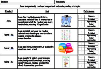 5th Grade Reading TEKS Checklist Goals Sheet