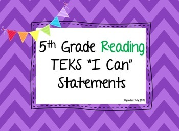 """TEKS """"I Can"""" statements, 5th grade reading"""