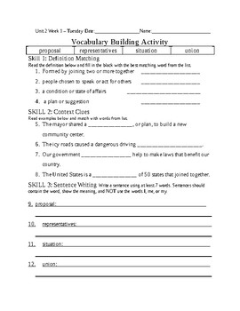 5th Grade Reading Wonders 2014 Weekly Vocabulary Practice Worksheets Unit 2