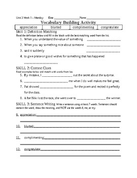 5th Grade Reading Wonders 2014 Weekly Vocabulary Practice Worksheets Unit 3