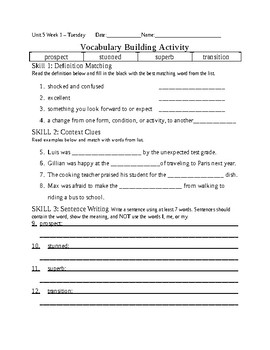 5th Grade Reading Wonders 2014 Weekly Vocabulary Practice Worksheets Unit 5