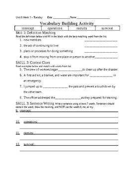 5th Grade Reading Wonders 2014 Weekly Vocabulary Practice Worksheets Unit 6