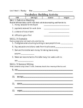 5th Grade Reading Wonders 2014 Weekly Vocabulary Practice Worksheets Units 1-6