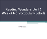 5th Grade Reading Wonders Common Core Vocabulary Word Labe