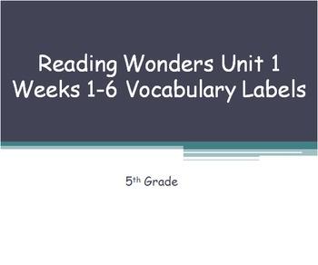 5th Grade Reading Wonders Common Core Vocabulary Word Labe