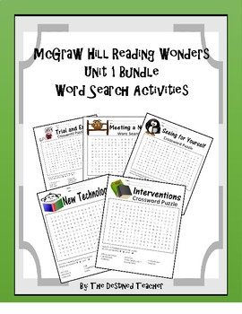 5th Grade Reading Wonders Word Search Activity Game Unit 1 BUNDLE Weeks 1-5