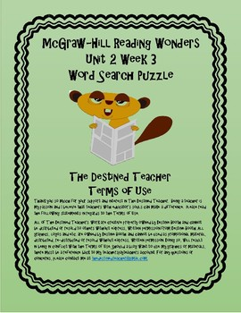 5th Grade Reading Wonders Word Search Activity Unit 2 Week 3
