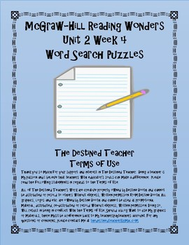 5th Grade Reading Wonders Word Search Activity Unit 2 Week 4