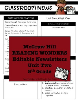 5th Grade Reading Wonders Editable Newsletters Unit Two Weeks 1-5