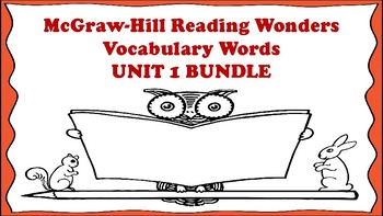 5th Grade Reading Wonders Unit 1 BUNDLE Vocabulary with Definitions Word