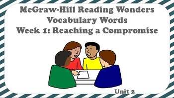 5th Grade Reading Wonders Unit 2 Week 1 Vocabulary with Definitions Word Wall
