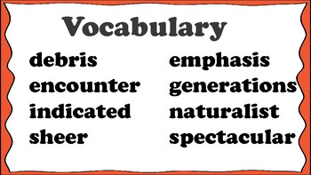 5th Grade Reading Wonders Unit 1 Week 3 Vocabulary with Definitions Word