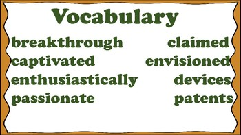 5th Grade Reading Wonders Unit 1 Week 4 Vocabulary with Definitions Word