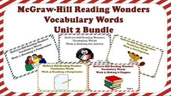 5th Grade Reading Wonders Unit 2 BUNDLE Vocabulary with Definitions Word