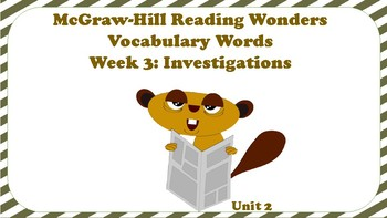 5th Grade Reading Wonders Unit 2 Week 3 Vocabulary with Definitions Word Wall
