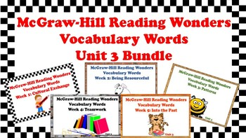 5th Grade Reading Wonders Unit 3 BUNDLE Vocabulary with Definitions Word