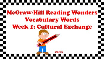 5th Grade Reading Wonders Unit 3 Week 1 Vocabulary with Definitions Word Wall