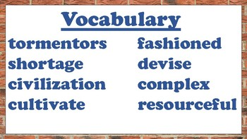 5th Grade Reading Wonders Unit 3 Week 2 Vocabulary with Definitions Word Wall