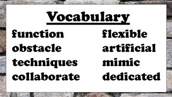 5th Grade Reading Wonders Unit 3 Week 4 Vocabulary with Definitions Word Wall