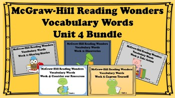 5th Grade Reading Wonders Unit 4 BUNDLE Vocabulary with Definitions Word