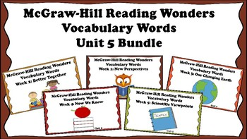 5th Grade Reading Wonders Unit 5 BUNDLE Vocabulary with Definitions Word
