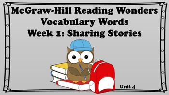 5th Grade Reading Wonders Unit 4 Week 1 Vocabulary with Definitions Word Wall