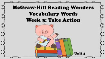 5th Grade Reading Wonders Unit 4 Week 3 Vocabulary with Definitions Word Wall