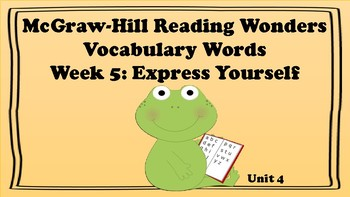 5th Grade Reading Wonders Unit 4 Week 5 Vocabulary with Definitions Word Wall