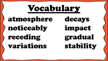 5th Grade Reading Wonders Unit 5 Week 3 Vocabulary with Definitions Word Wall