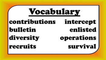 5th Grade Reading Wonders Unit 6 Week 1 Vocabulary with Definitions Word Wall