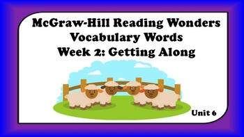 5th Grade Reading Wonders Unit 6 Week 2 Vocabulary with Definitions Word Wall