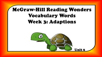 5th Grade Reading Wonders Unit 6 Week 3 Vocabulary with Definitions Word Wall