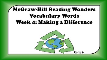 5th Grade Reading Wonders Unit 6 Week 4 Vocabulary with Definitions Word Wall