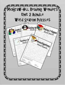 5th Grade Reading Wonders Word Search Activity Unit 2 BUNDLE