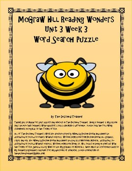 5th Grade Reading Wonders Word Search Activity Unit 3 Week 3