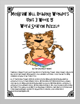 5th Grade Reading Wonders Word Search Activity Unit 3 Week 5