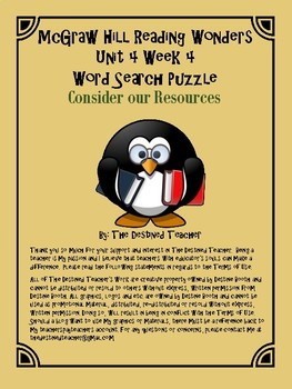 5th Grade Reading Wonders Word Search Activity Unit 4 Week 4