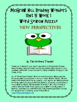 5th Grade Reading Wonders Word Search Activity Unit 5 Week 1